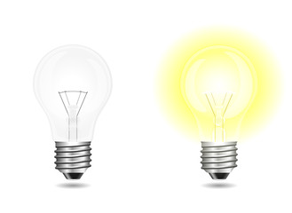 Incandescent light bulbs on and off isolated on white