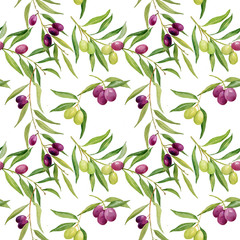 watercolor seamless pattern .olives branch on white background