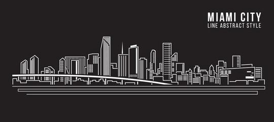 Cityscape Building Line art Illustration design - Miami city