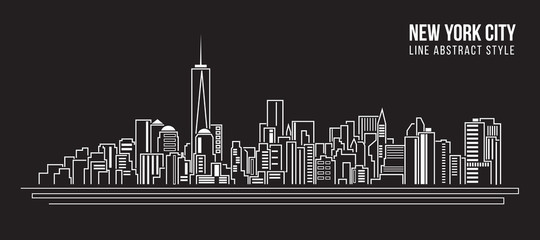 Cityscape Building Line art Vector Illustration design - new york city Wall mural