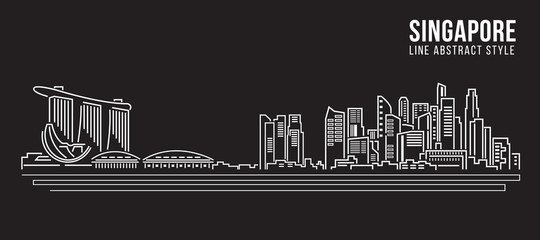 Cityscape Building Line art Vector Illustration design - Singapore