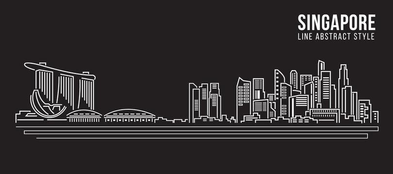 Cityscape Building Line art Vector Illustration design - Singapore