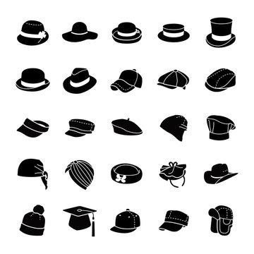Hats glyph vector icons