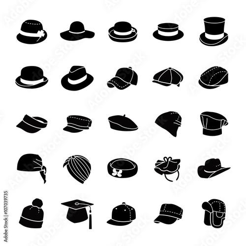 43b8ce99 Hats glyph vector icons