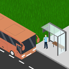 Isometric tourist bus. Man with cell phone at the bus stop.