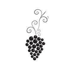 Vine with bunch of grapes. Black and white simple design.