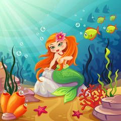 Underwater worlds with a mermaid on the rock