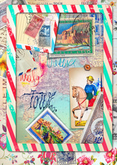 Door stickers Imagination Collage papers with scraps and vintage stamps of Italy