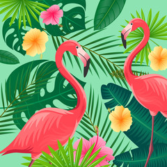 Vector Illustration of an Abstract Background with Tropical Leaves, Flowers and Flamingos
