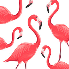 Vector Illustration of an Abstract Background with Flamingos