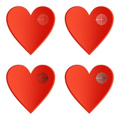 Set of red heart icons with color target on the right side on a white background
