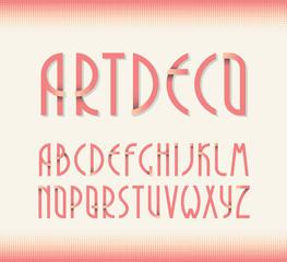 Deco vintage poster typeface, font. Set of retro style latin cap