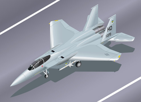 Detailed Isometric Vector Illustration of an F-15 Eagle Jet Fighter on the Ground