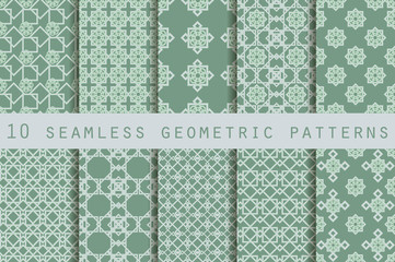 Set of 10 geometric seamless pattern. The pattern for wallpaper, tiles, fabrics and designs. Vector.