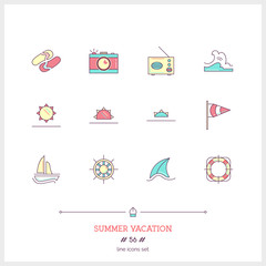 Color line icon set of vacation summer travel, summer holiday, objects and tools elements. Travel interface icons, sea, ice cream, map. Logo icons. Vector illustration. Logo icons