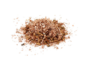 red copper shavings on a white background
