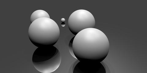 Cinq boules générées aléatoirement sur un plan réflecteur