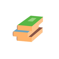 Stack closed book flat icon