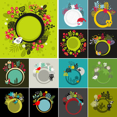 Set of round banners with floral background.