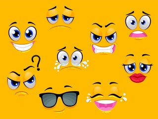 Vector Illustration of Different Expression of Smiley Emoticon