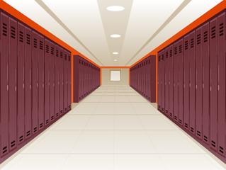 Vector Illustration of Locker School Hallway