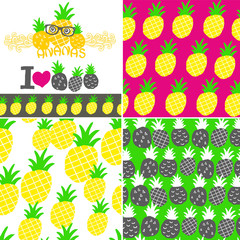 Set of vector illustrations with hand drawn pineapple.