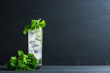 Mint julep in glass on the dark wooden background