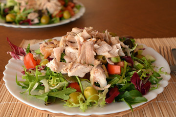 Mixed vegetable salad with chicken on a white plate