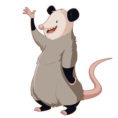 Cartoon smiling Opossum