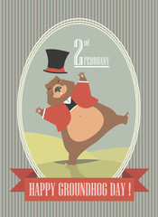 Happy Groundhog Day illustration with cute groundhog