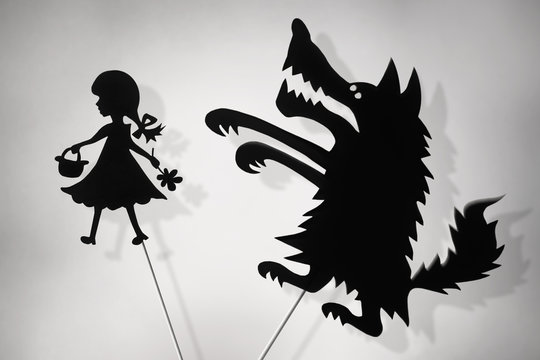 Little Red Riding Hood and Bad Wolf shadow puppets