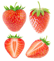 Isolated strawberries collection