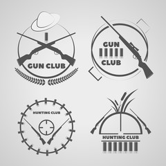 Vintage  gun club labels emblems and design elements eps 10