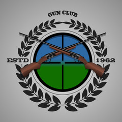 Vintage gun club labels emblem and design elements eps 10