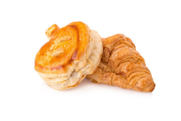 Puff pastry and Fresh croissants on white background.