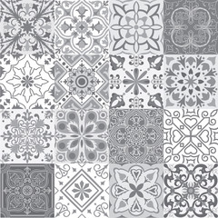 Set of tiles background in grey.