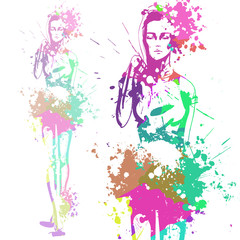 trendy look girl with color splashes