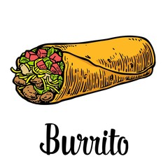 Burrito - mexican traditional food. Vector color vintage engraved illustration for menu, poster, web. Isolated on white background