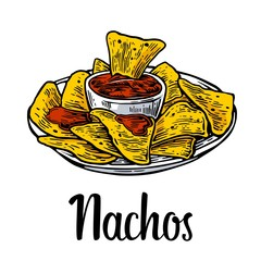 Nachos- mexican traditional food. Vector vintage engraved illustration for menu, poster, web. Isolated on white background.