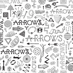Black and white seamless pattern with arrows
