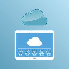 Cloud service. Concept design of the tablet storage files.