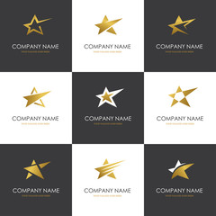 Golden star logo set isolated on white and black backgrounds