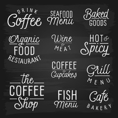Hand drawn lettering slogans for cafe and restaurant