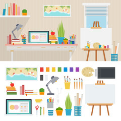 Illustrator working place with artistic tools