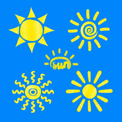 Watercolor sun icons on blue background. Set of vector sun symbols.