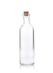 empty liquor bottle on a white background