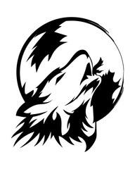 Wolf howling up to the moon.Beautiful wolf tattoo.Vector wolf's head as a design element on isolated background