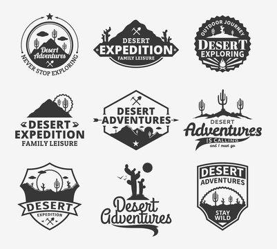Set of vector desert adventures logo
