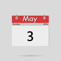 Calendar May 3, vector illustration