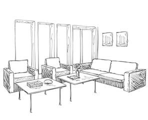 Modern interior room sketch. Hand drawn furniture.